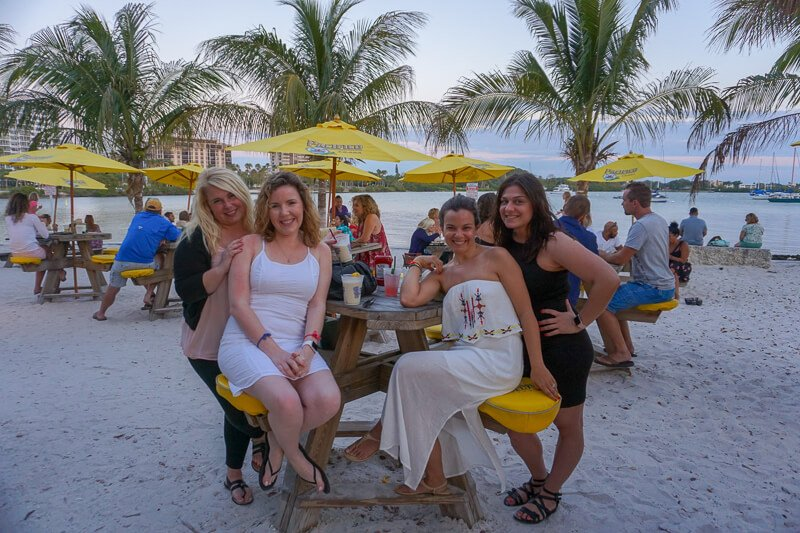 Group of four girls at O'Leary's Tiki Bar in Sarasota Florida
