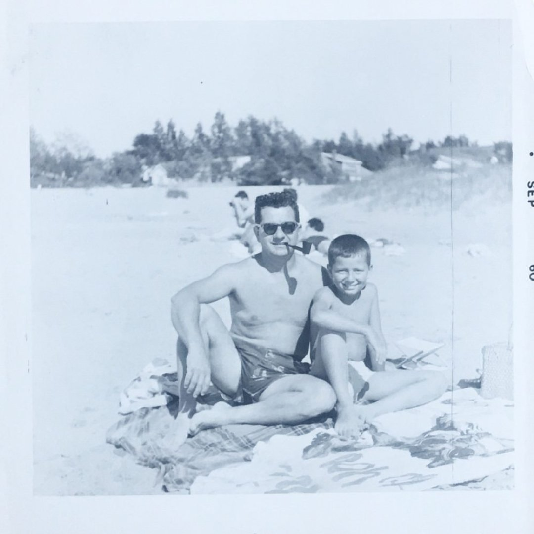 Grandpa and dad on beach