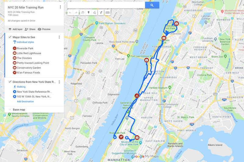 Running in Manhattan Route Map