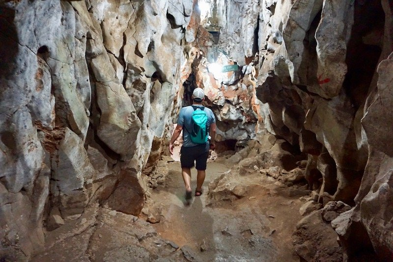 Man walking in cave