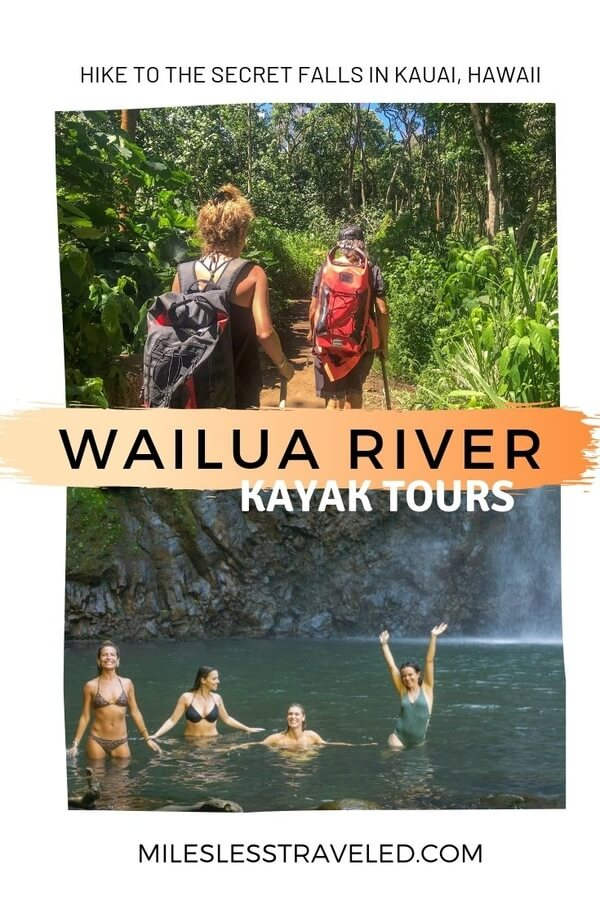 Two woman hiking text overlay Wailua River Kayak Tours group of women in waterfall pool