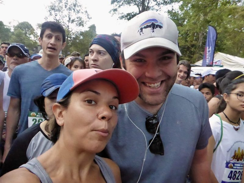 Couple before running half-marathon in Cambodia Angkor Wat