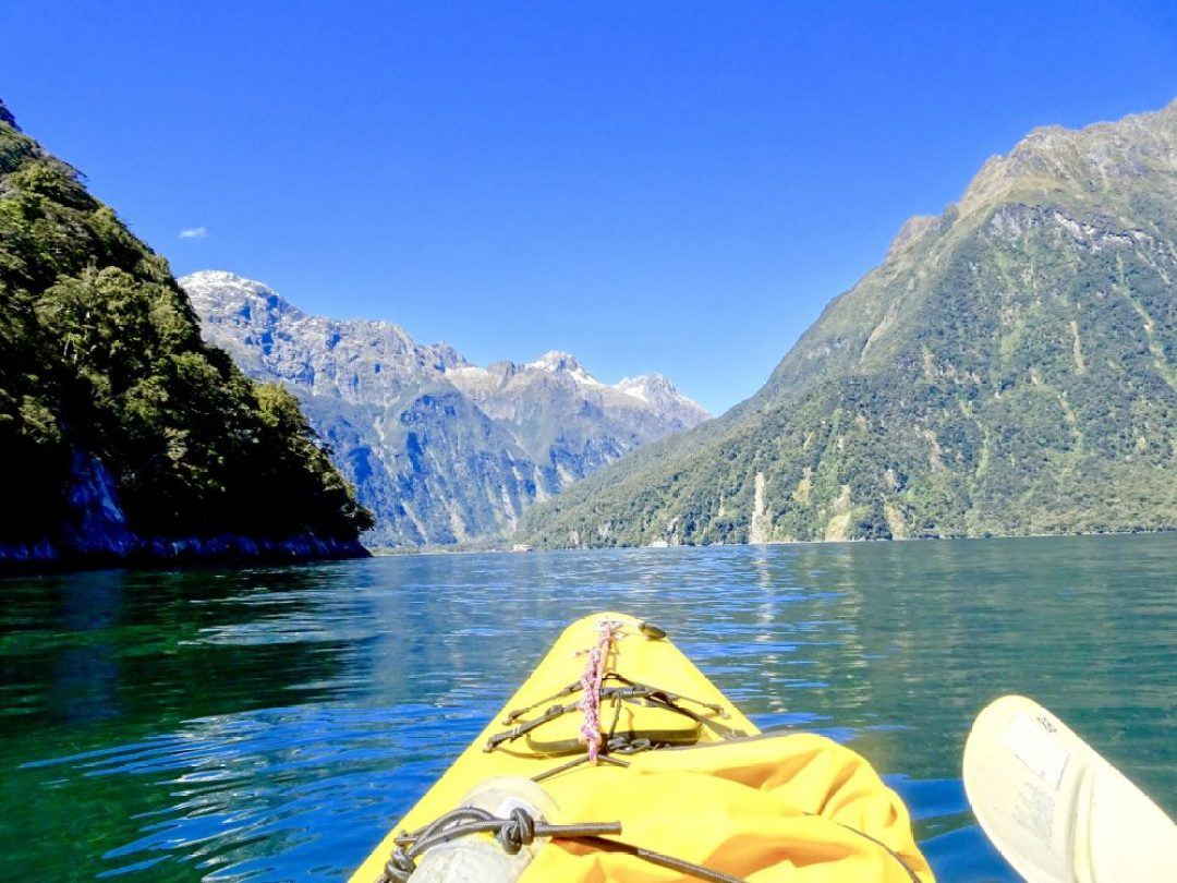 Kayaking Milford Sound view