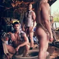 In the south it can get hot, but Dad said you can't be naked in the barn. So the boys left their shirts on. Looking at Jimmy in the middle, it's going to get hotter!