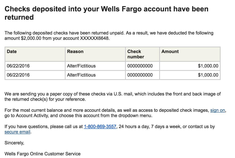 Wells Fargo shuts down reader for depositing bad money order