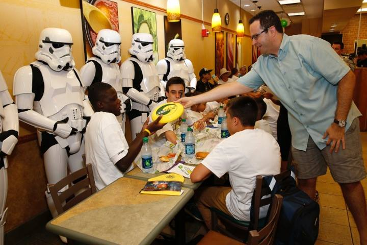 Stormtroopers teaming up with Jared from Subway. Photo courtest of 501st.com