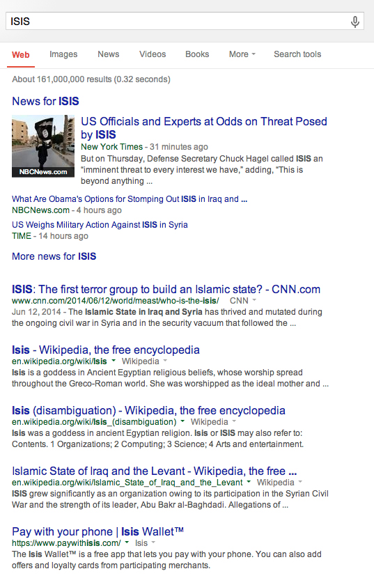 ISIS Google Search results