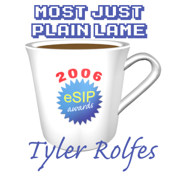 A graphic depicting a coffee cup as the 2006 eSIP Award for Most Just Plain Lame