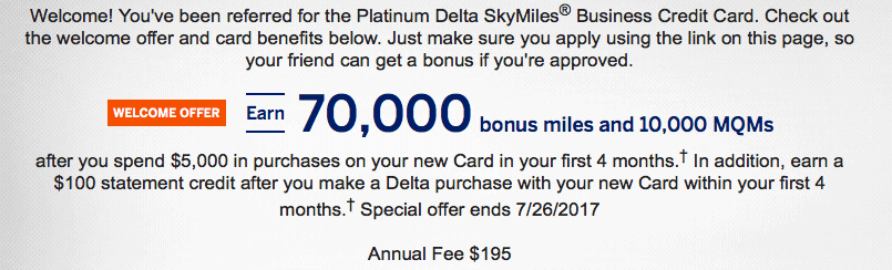 Great Delta Business Platinum Amex Offer 70k Miles 10k Mqms And