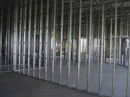 Drywall metal stud ready for plasterboard