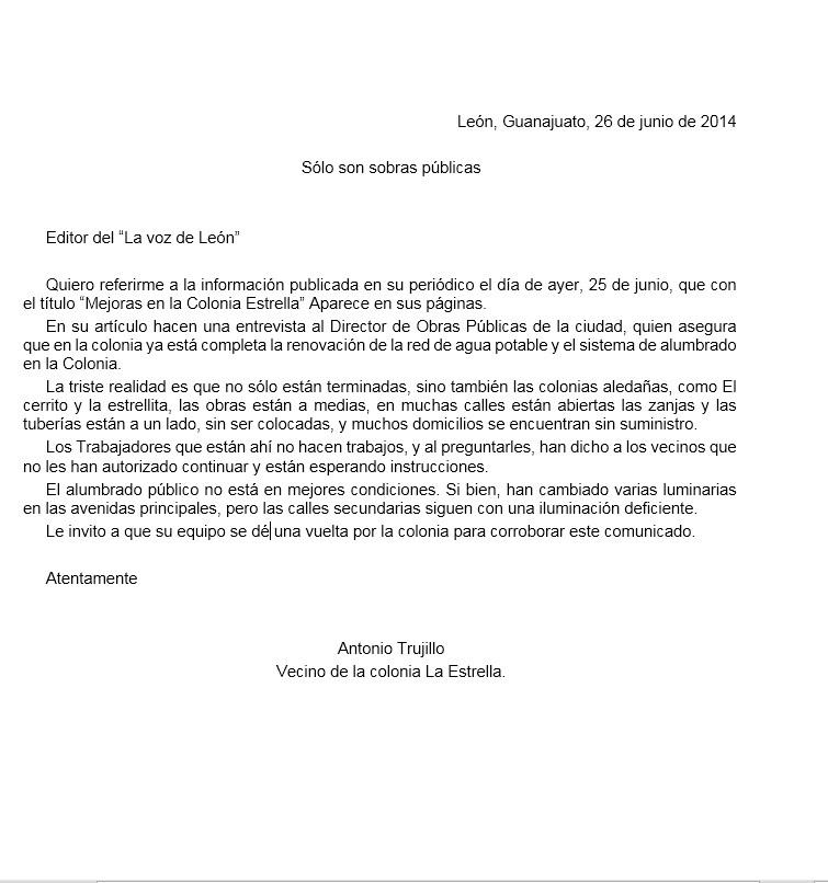 carta de negocios ejemplo