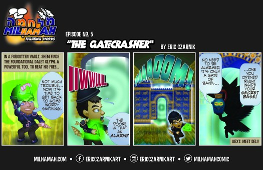 """This is the full four-panel comic of """"The Gatecrasher."""""""