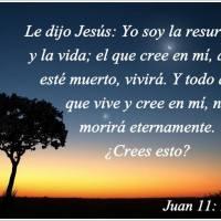 Imagen cristiana con versículos: Yo soy la resurrección y la vida