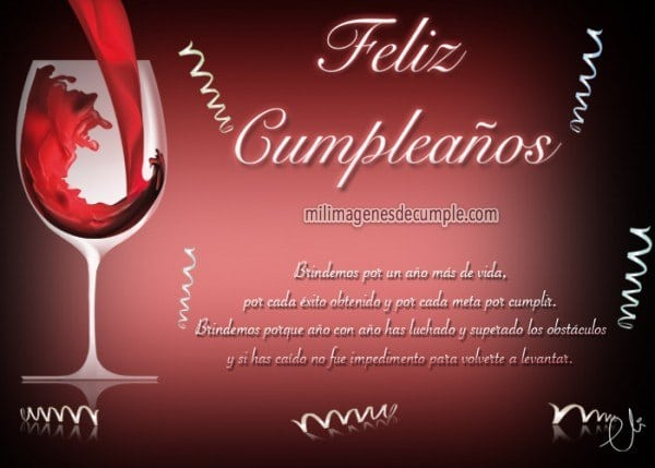 Postales De Cumpleaños Con Frase Positiva Y Copa De Vino