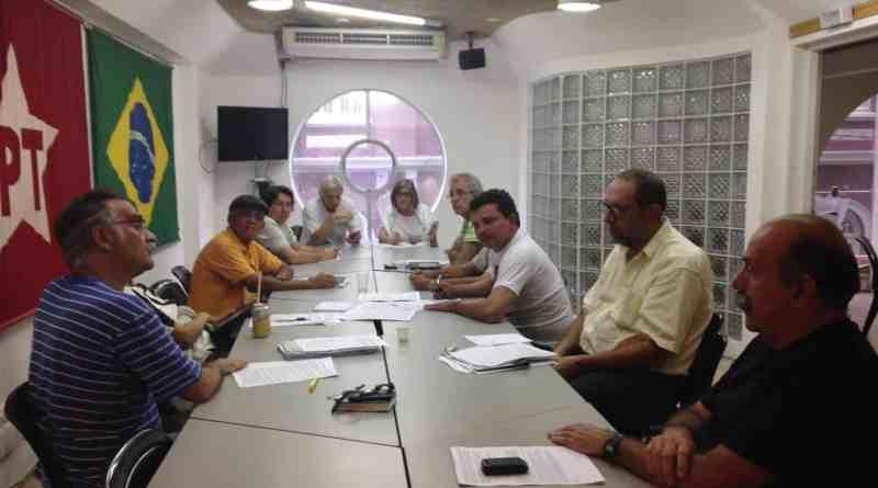 Uma reunião do Comitê Nacional na sede do PT