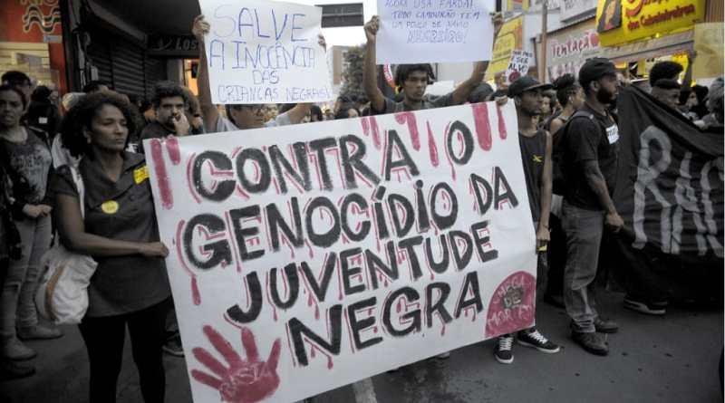 Cartaz Contra o genocídio da juventude Negra