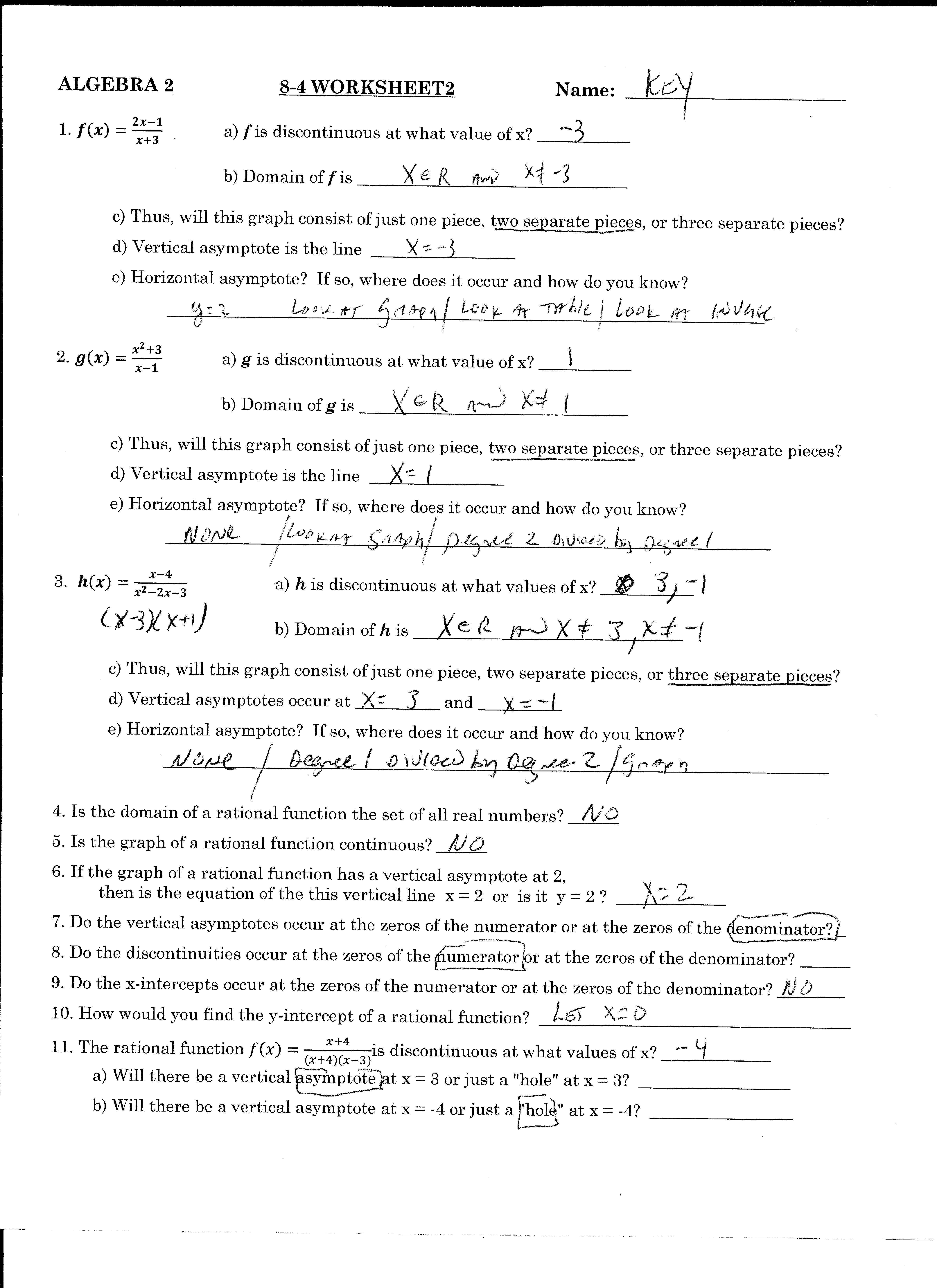 Solving Linear Equations Worksheet 1 Sections 3 4 Answers