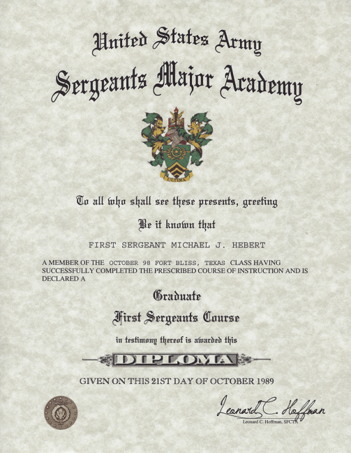 Army Sergeants Major Accademy First Sergeants Course