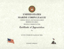 Marine Corps League Certificate of Appreciation