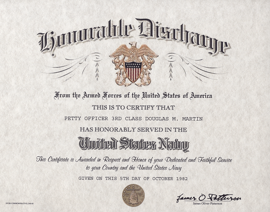 Navy Honorable Discharge Certificate