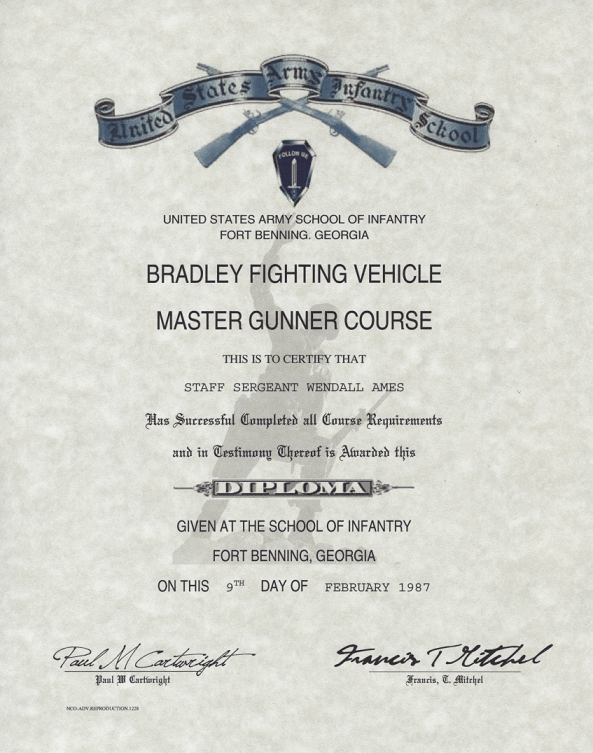 Army Bradley Fighting Vehicle master Gunner Course Certificate