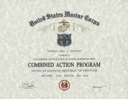 USMC (CAP) Combined Action Program, Replacement Certificate