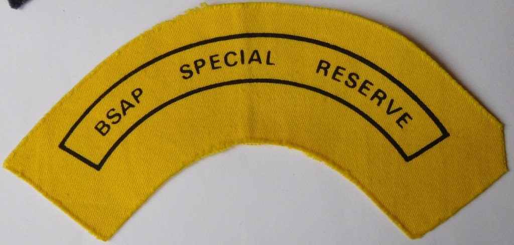 BSAP British South Africa Police Special Reseve Cloth shoulder title YELLOW