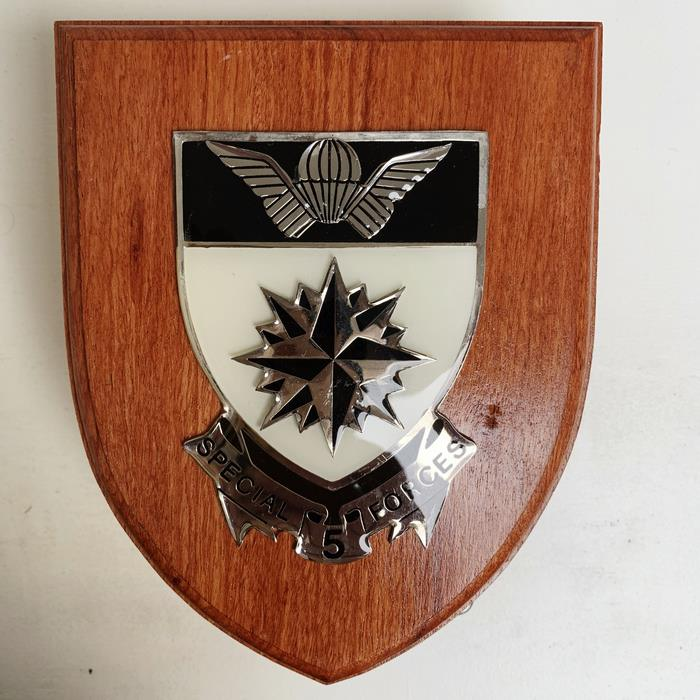 South Africa RECCE Special Forces Selous Scouts WOODEN SHIELD PLAQUE