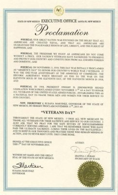 2013 NM Veterans Day Proclamation