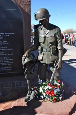 Statue of soldier at memorial