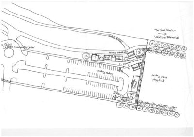 Drawing of site of old houses