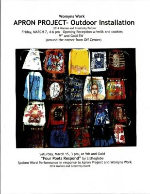 Apron Project Outdoor Installation poster with photo of aprons