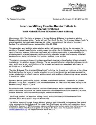 Press Release: American Military Families Receive Tribute in Special Exhibition