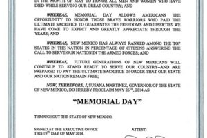 2014 Memorial Day Proclamation for New Mexico