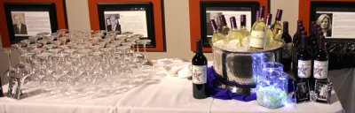 Table set with champagne glasses and champagne