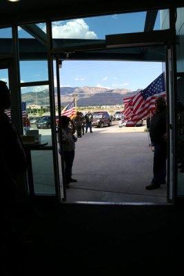 Flag line from inside door