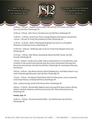 Plattsburgh Bicentennnial Schedule