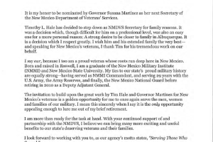 Letter from Cabinet Secretary Designate Jack Fox for New Mexico Department of Veterans Affairs