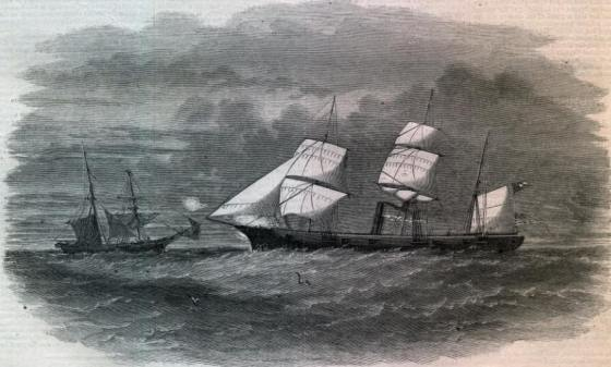 "A depiction in Harper's Weekly of the ""Pirate"" ship Sumter attacks a merchantman off Boston."