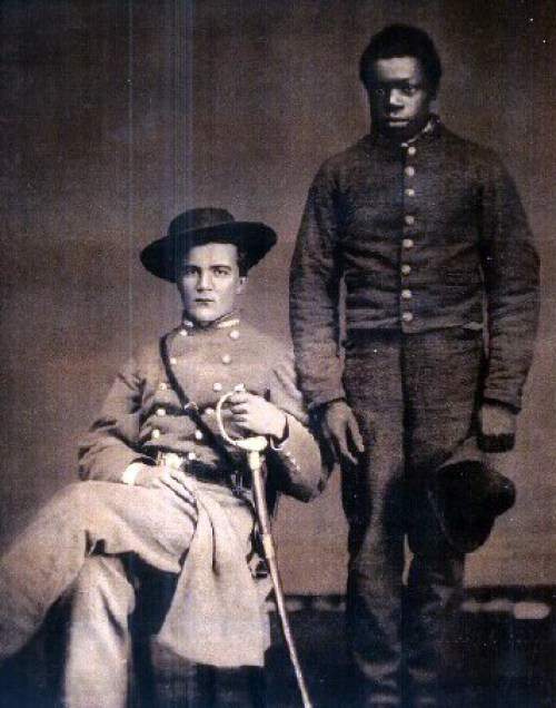 A Confederate officer and his slave.