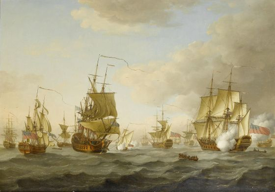 Admiral Byng's fleet leaves Portsmouth. (Image source: WikiCommons)