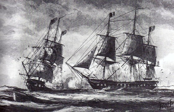 The USS Constellation in battle with the French warship L'Insurgente. (Image source: WikiCommons)