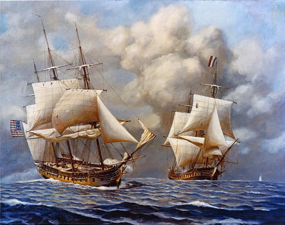 The USS Constellation i action again the French warship Insurgente.