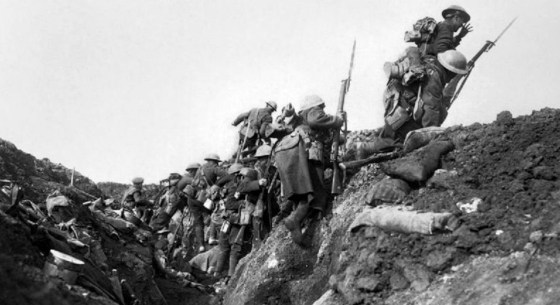 Canadian troops go 'over the top at the Somme, 1916,