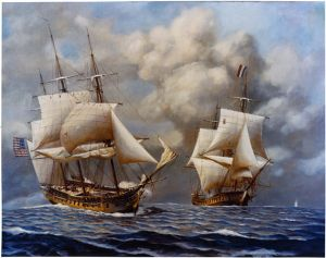 The USS Constitution takes on a French privateer during the Quasi War.