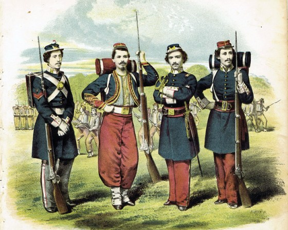 Ephraim Ellsworth (centre right) and his performing performing drill team introduced many Americas to Zouave uniforms and tactics.
