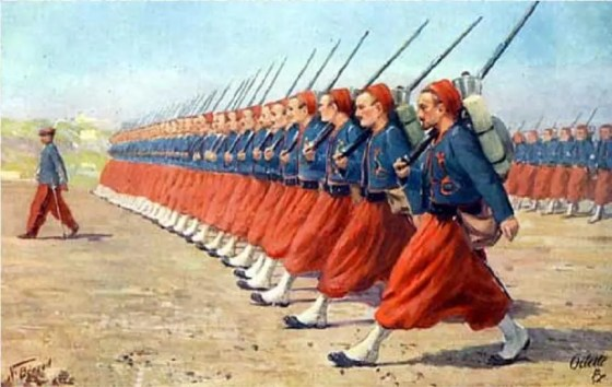 Not long after the North African Zouaves joined the French army, elite regiments in other countries began adopting the distinctive Berber style uniforms and light infantry tactics.