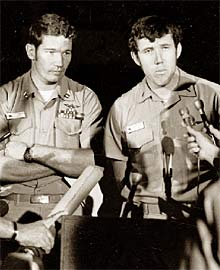 Cunningham and Driscoll take questions from reporters following their famous May 10, 1972 dogfight over North Vietnam.