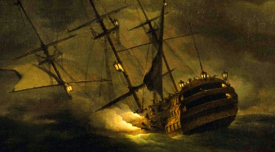 HMS Victory sinking off the Channel Islands in 1744.
