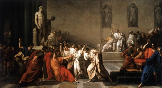 Roman senators stab Julius Caesar to death in the year 44. One of the most famous attempted coups in history was launched by conspirators to overturn the self-appointed dictator's own unlawful rise to power.